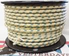 12ga, OVERSTOCK, Lacquer Coated Cloth Braided Wire, Off-White / Blue 3T
